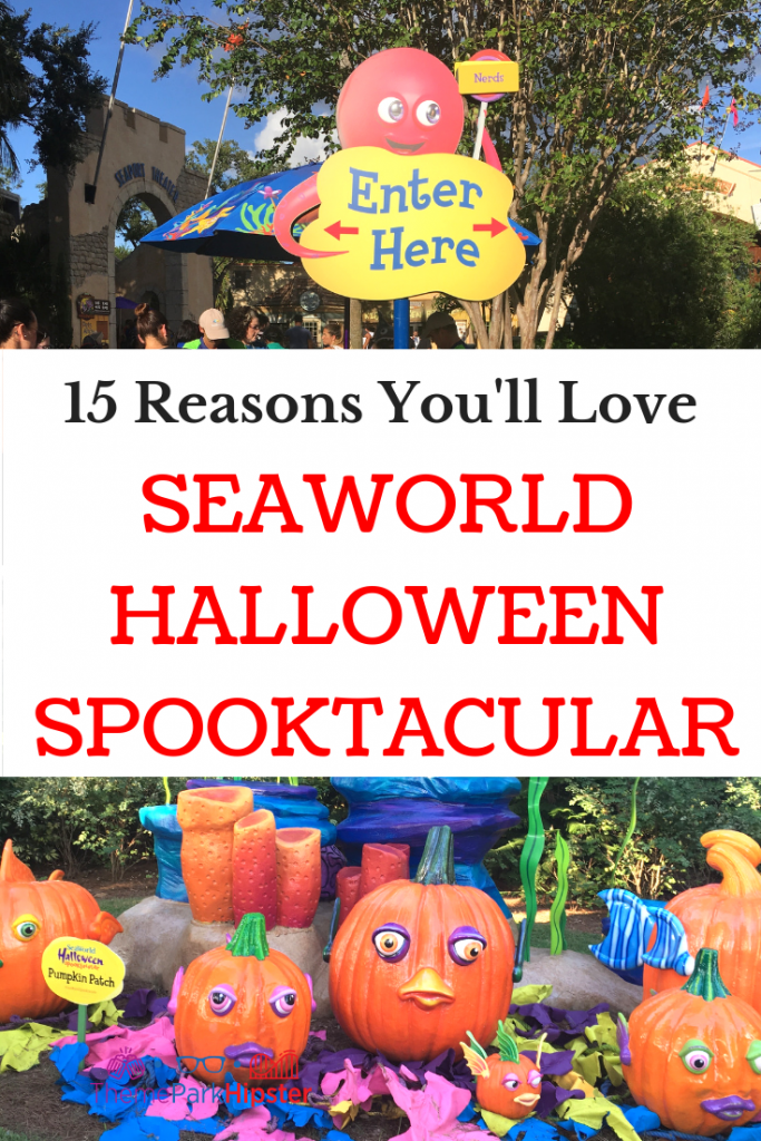 SeaWorld Spooktacular Halloween Complete Guide with colorful pumpkin patch. #SeaWorld #halloween