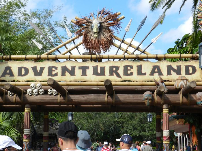 Adventureland in the Magic Kingdom with classic rides such as Jungle Cruise and Skipper Canteen