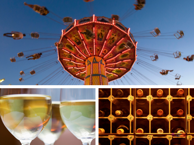 Wine with Barefoot Riesling Wine with amusement park ride.