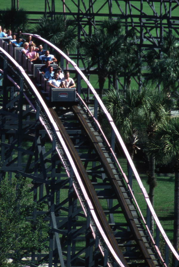Florida Hurricane roller coaster at the Boardwalk and Baseball theme park in Haines City, Florida.