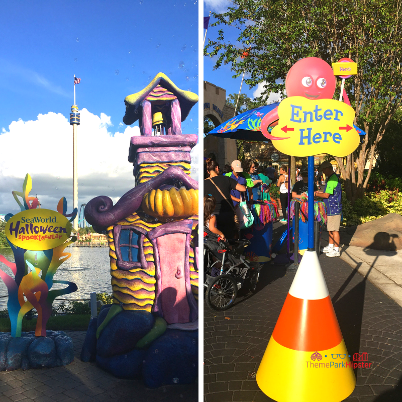 SeaWorld Spooktacular Halloween with life size white, orange, and yellow candy corn.