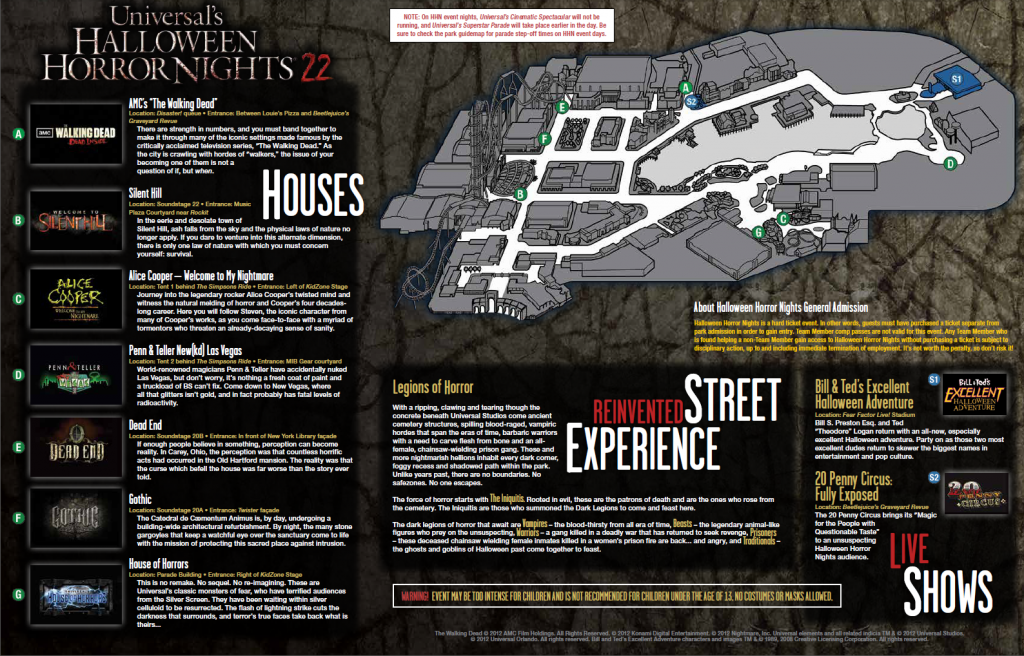 Halloween Horror Nights 22 Orlando Map