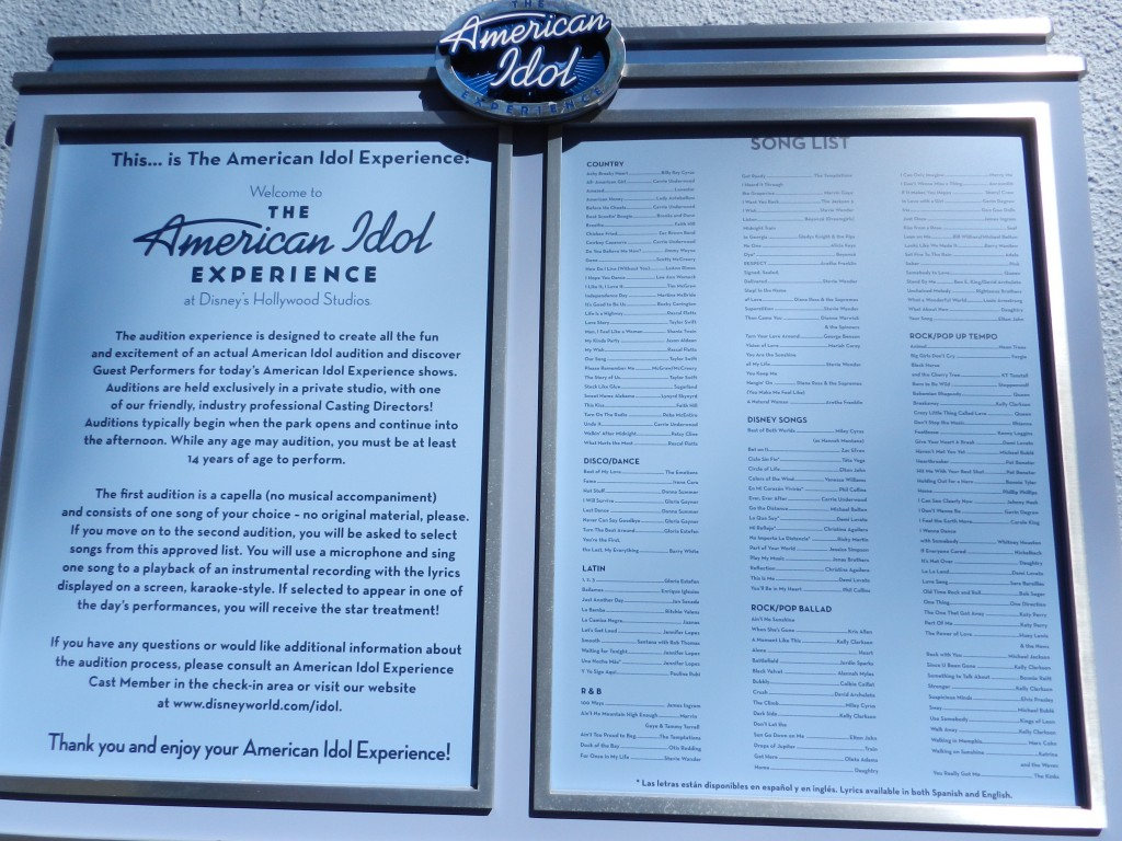 American Idol Experience Disney with Song List
