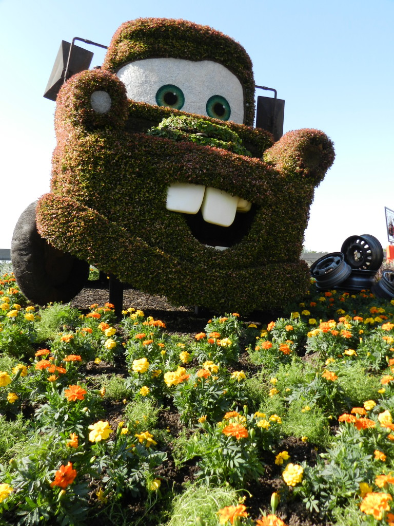 2013 EPCOT Flower Garden Festival Mater from the Cars movie topiary.
