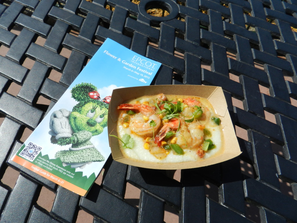 EPCOT Flower Garden Festival 2013 menu and food.  Shrimp and Stone Ground Grits with Andouille Sausage, Sweet Corn, Tomatoes and Cilantro.