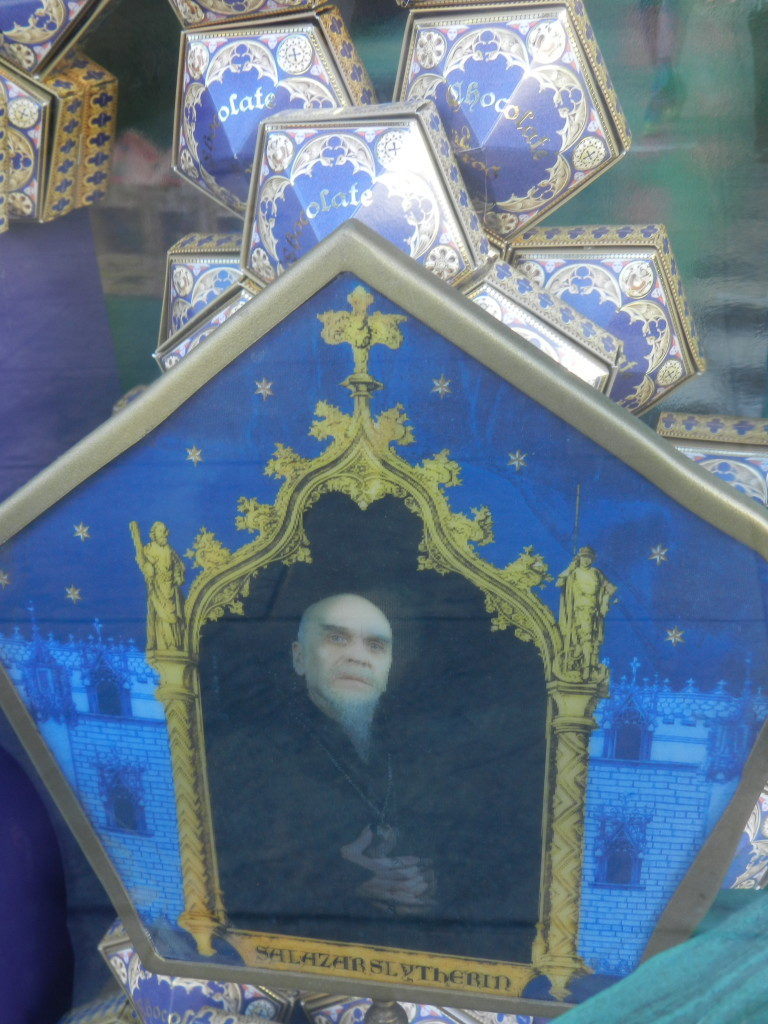 Salazar Slytherin Chocolate Frog in the Wizarding World of Harry Potter Orlando.