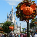 Fall at Disney World with Mickey face pumpkins.
