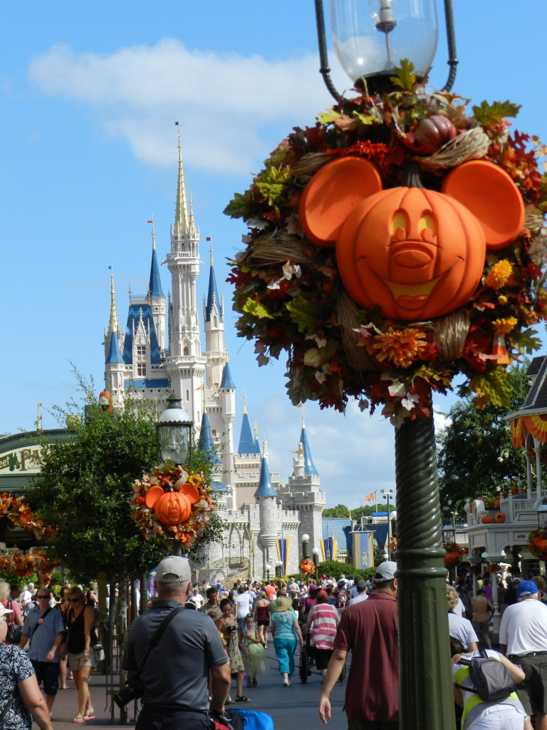 Fall at Disney World with Mickey face pumpkins. Thanksgiving at Disney.