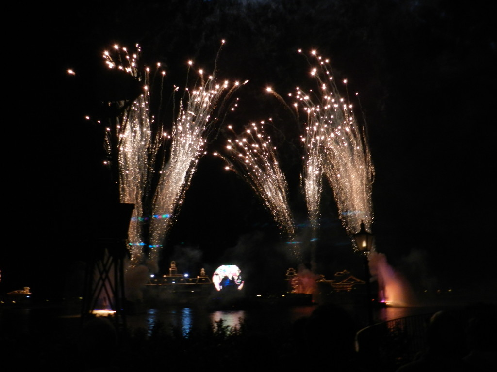 Fireworks on Epcot lagoon.