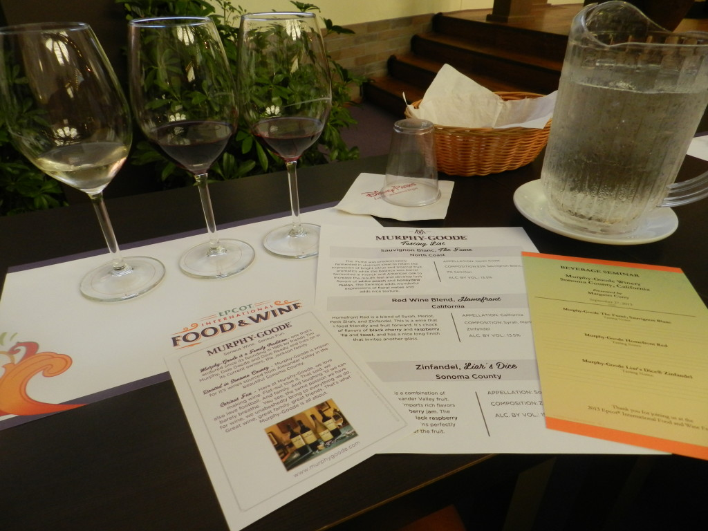 Epcot Food and Wine Festival Seminar with Murphy-Goode Winery and wine sampling glasses.