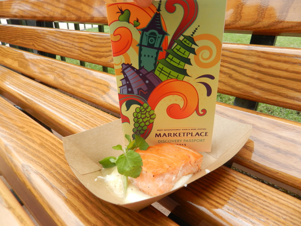Scotland Marketplace: Seared Scottish Salmon with Cauliflower Puree, Watercress & Malt Vinaigrette Epcot Food and Wine Festival Menu
