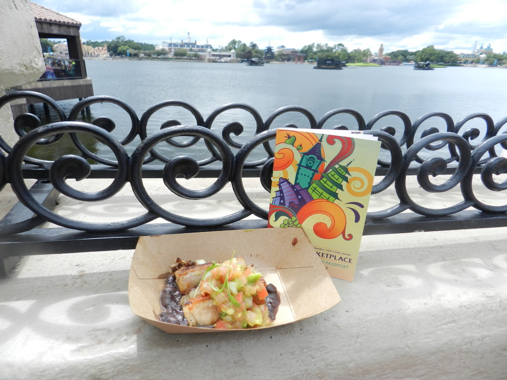 Brazil Marketplace: Crispy Pork Belly with Black Beans, Onions, Avocado & Cilantro Epcot Food and Wine Festival Menu