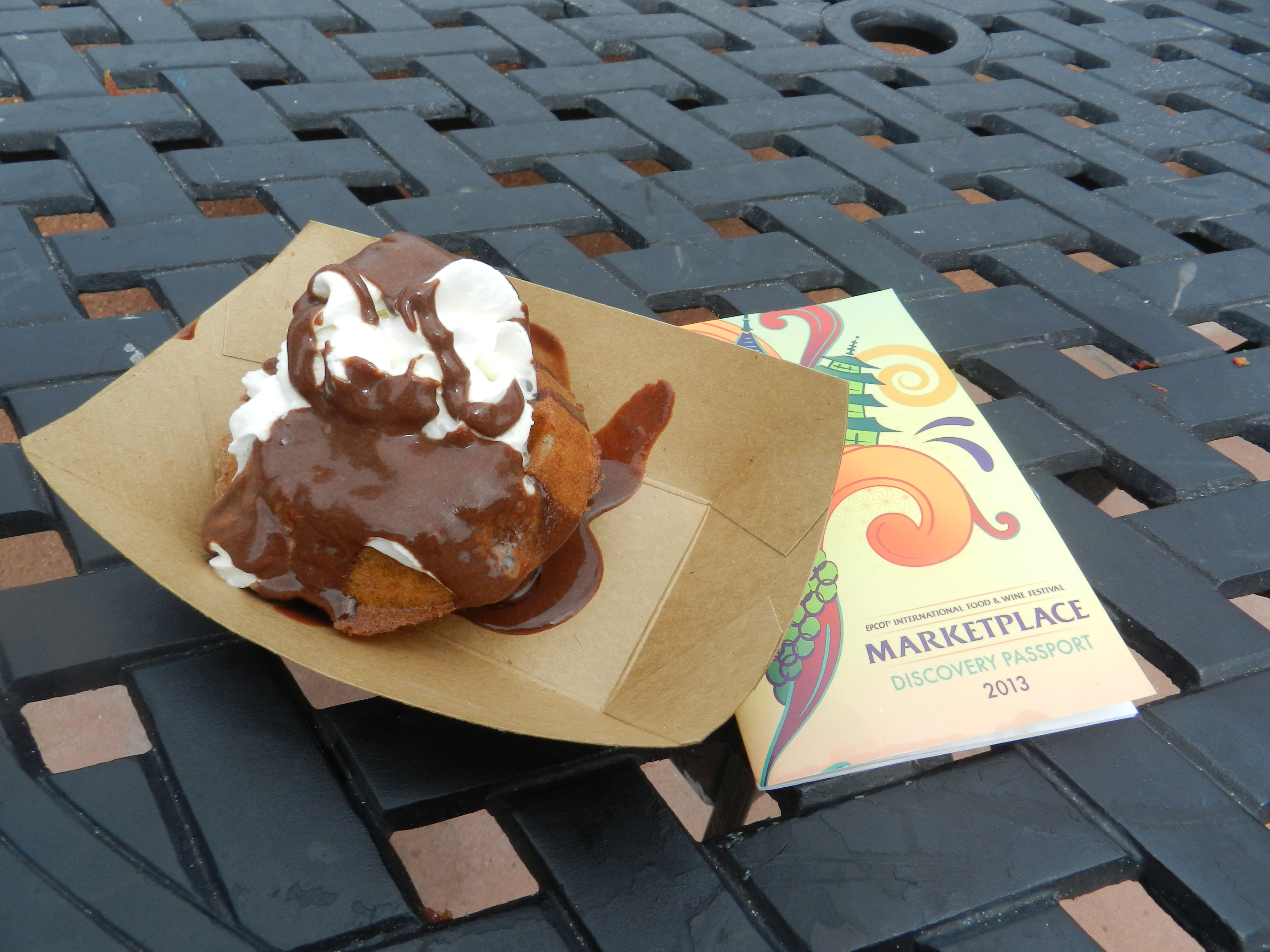 Belgium Marketplace: Belgian Waffle with Warm Chocolate Ganache & Whipped Cream