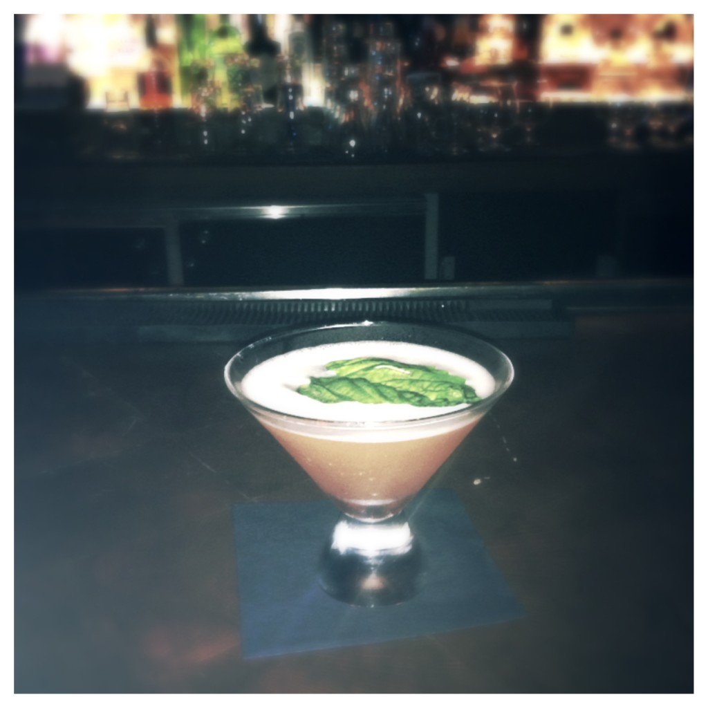 Serenity fresh basil and strawberry martini at Todd English's Bluezoo Lounge