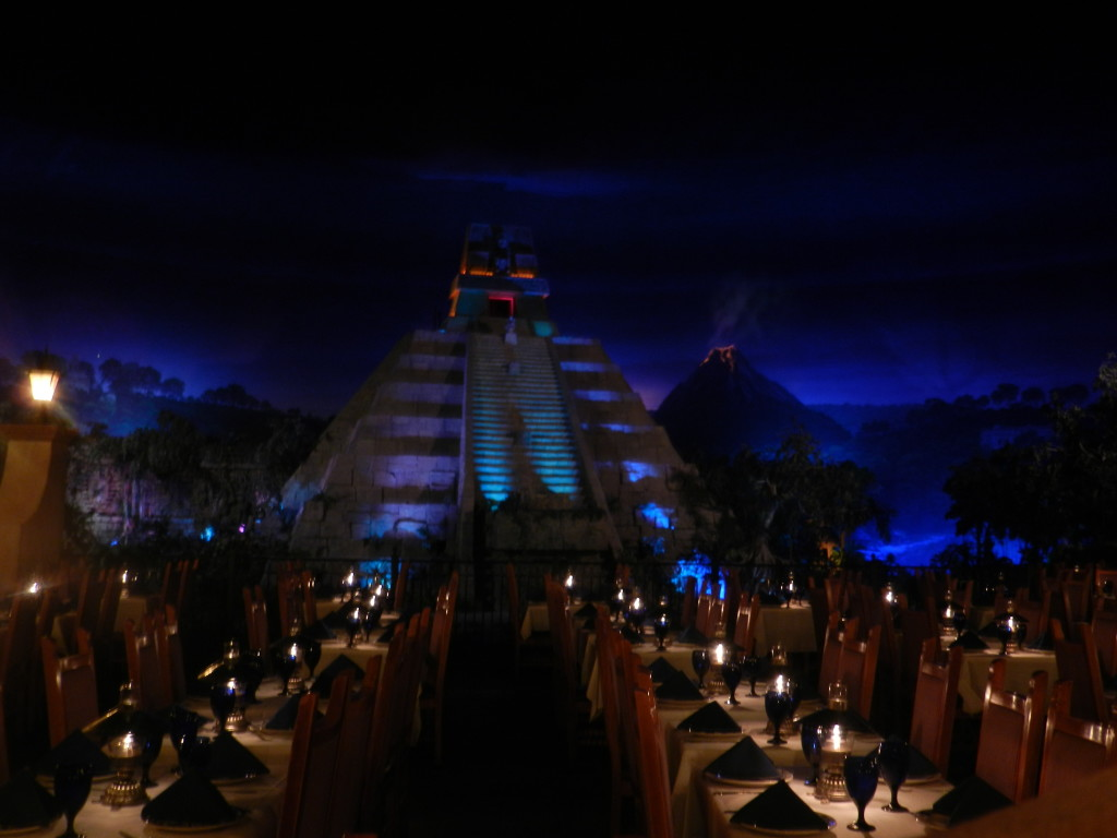 San Angel Inn Restaurant Mexico Epcot under the twilight night.