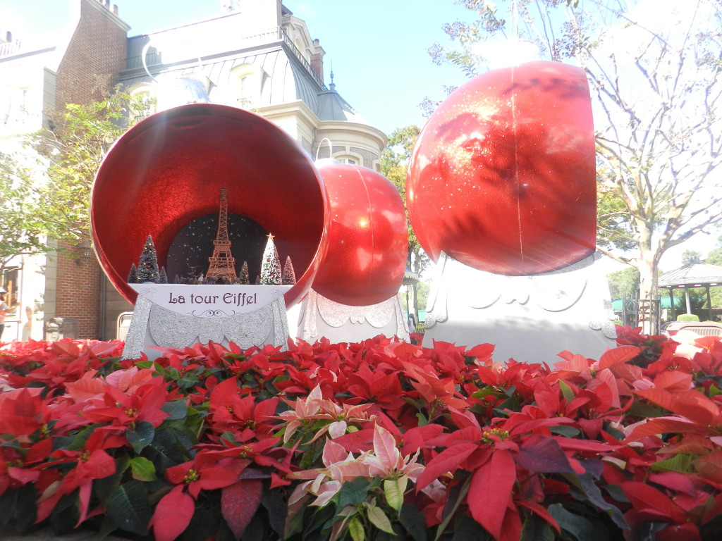 Giant Red Christmas Bulbs at Epcot France Pavilion