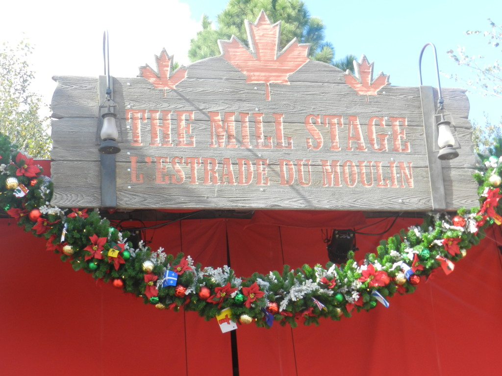 Festival of the Holidays in Canada Pavilion at Epcot with Christmas Decor