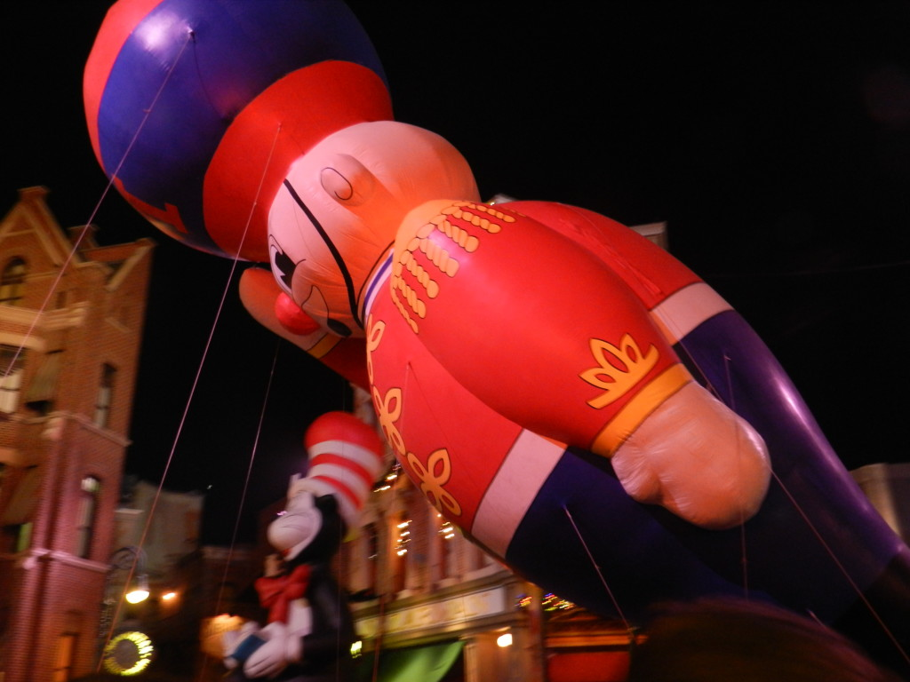 Macy's Holiday Parade at Universal Studios with giant toy solider balloon.