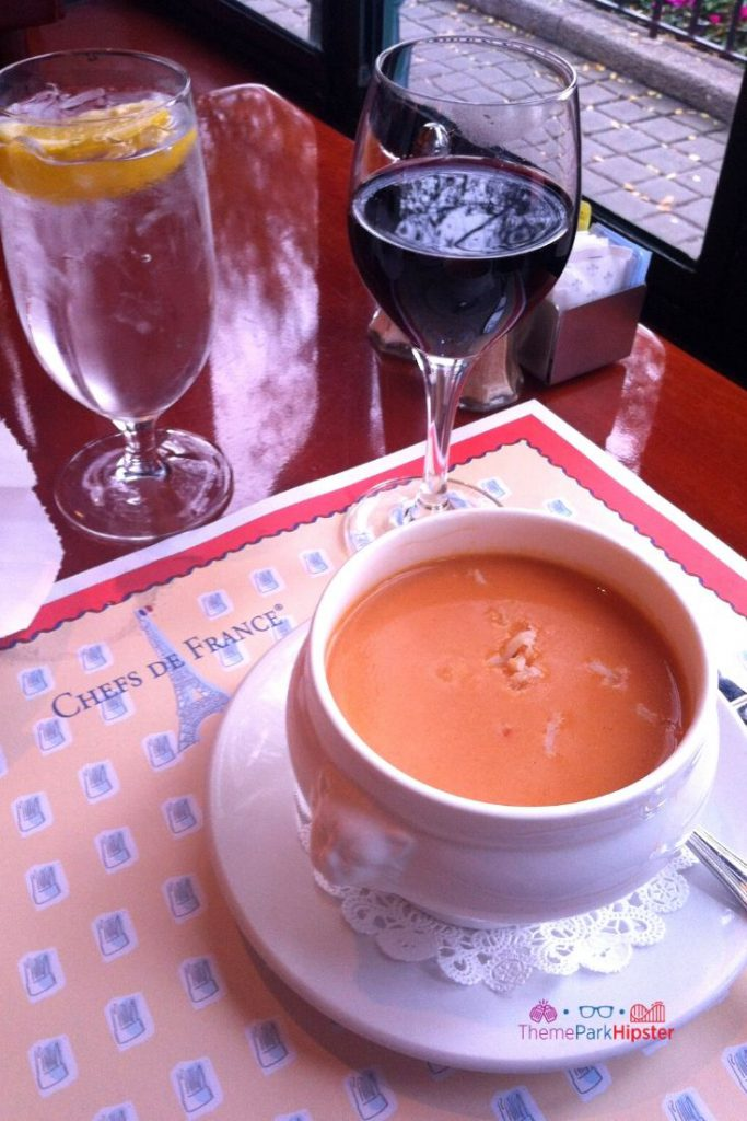 Creamy Lobster Bisque and Red Wine at Chefs de France Disney World