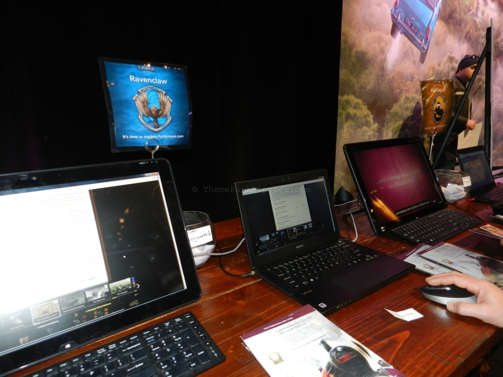 Pottermore booth with laptops to take a quiz for your Hogwarts house at A Celebration of Harry Potter Universal