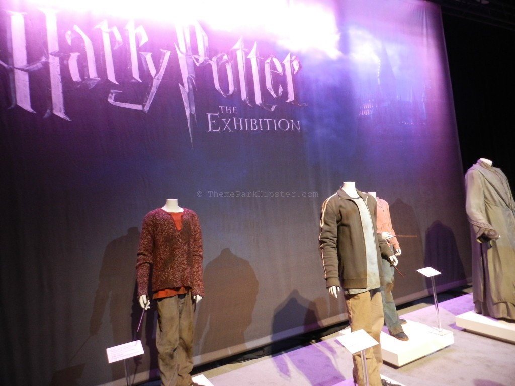 Harry Potter film costume exhibition with a dirty Hermonie and Harry Potter clothing from Deathly Hallows.