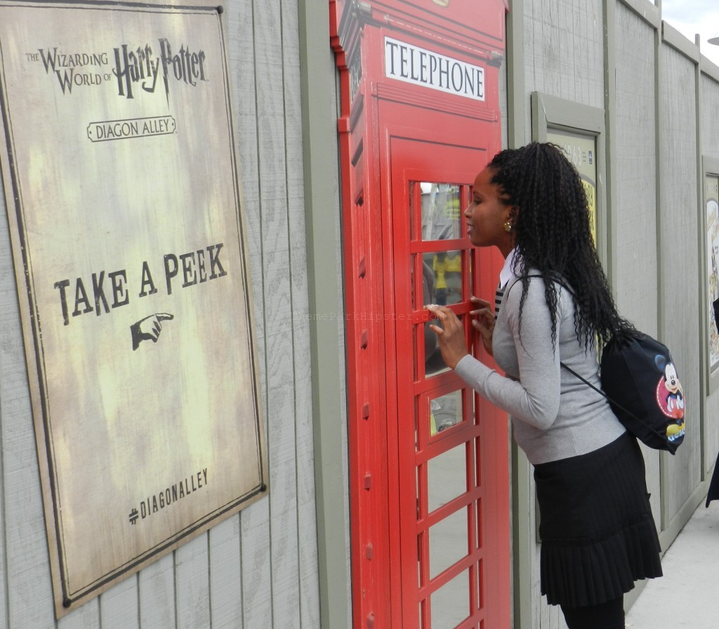 NikkyJ of ThemeParkHipster Peaking into the London waterfront area of the Wizarding World of Harry Potter expansion. Warning: you may be surprised by the things you see :)
