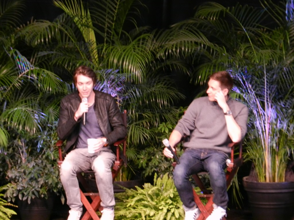 The Phelps brothers at the Q&A session sitting on stage at Islands of Adventure.