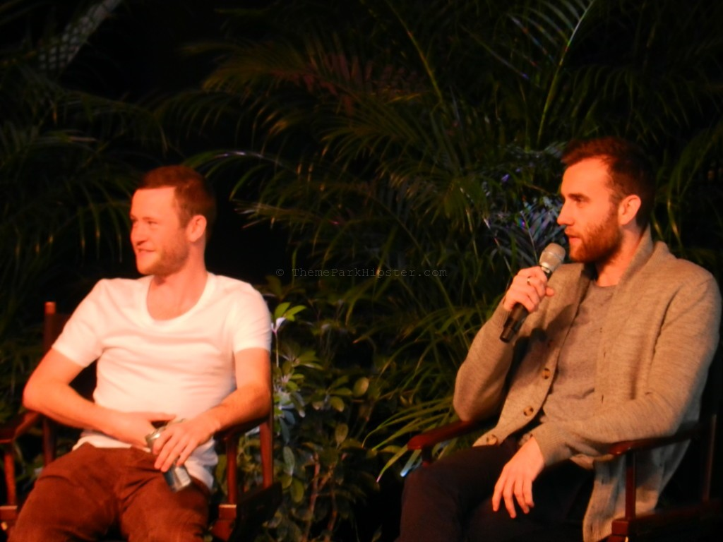 Devon Murray and Matthew Lewis during the Q&A Session from Harry Potter sitting on stage at Islands of Adventure