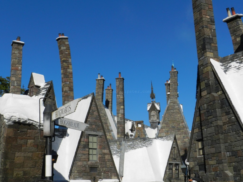 Breathtaking scene of Hogsmeade Village with snow top buildings to end an excellent day at Wizarding World of Harry Potter.