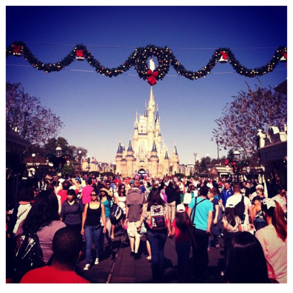 Main Street USA Cinderella Castle Christmas decor at the Magic Kingdom