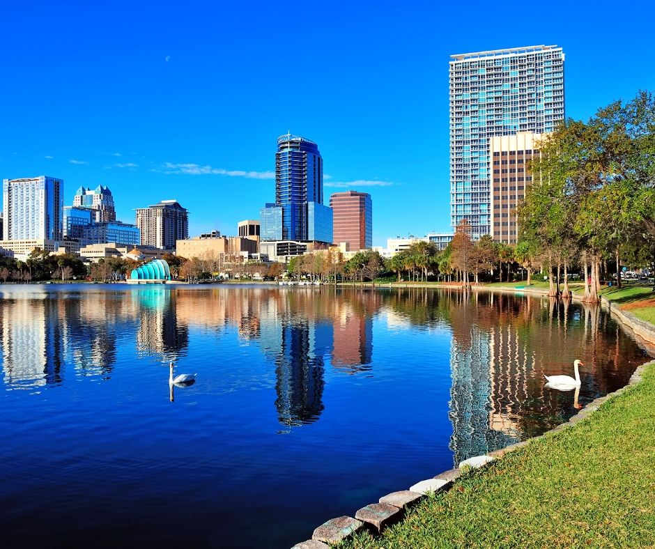 Lake Eola in Downtown Orlando with high rise building and white swans floating.