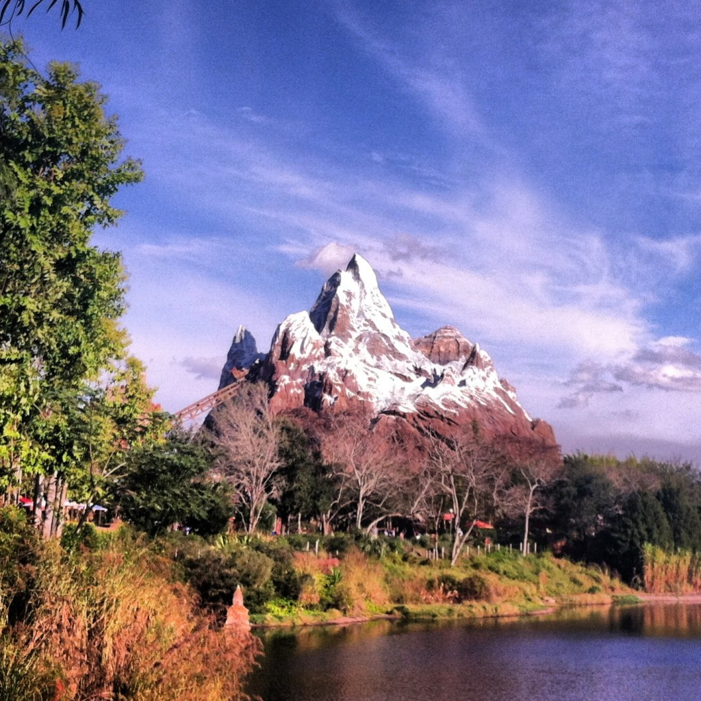 Expedition Everest at Disney's Animal Kingdom with roller coaster going into the mountain. One of the fastest rides at Disney World.