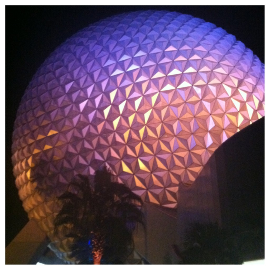 Spaceship Earth Epcot at Night