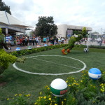 Epcot Flower and Garden Festival with Goofy topiary playing soccer.