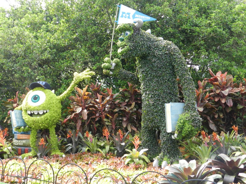 Monster's Inc Character topiaries at the Epcot Flower and Garden festival