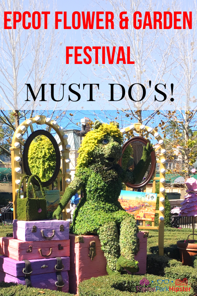 Epcot Flower and Garden Festival Tips with colorful Miss Piggy garden topiary. #disneytips #epcot