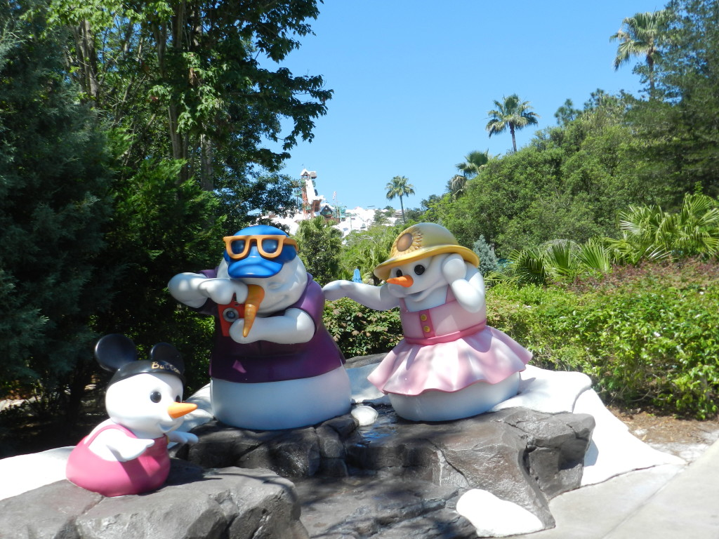 Blizzard Beach at Walt Disney World with snowman family. water theme park