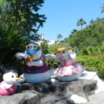 Blizzard Beach at Walt Disney World with snowman family.