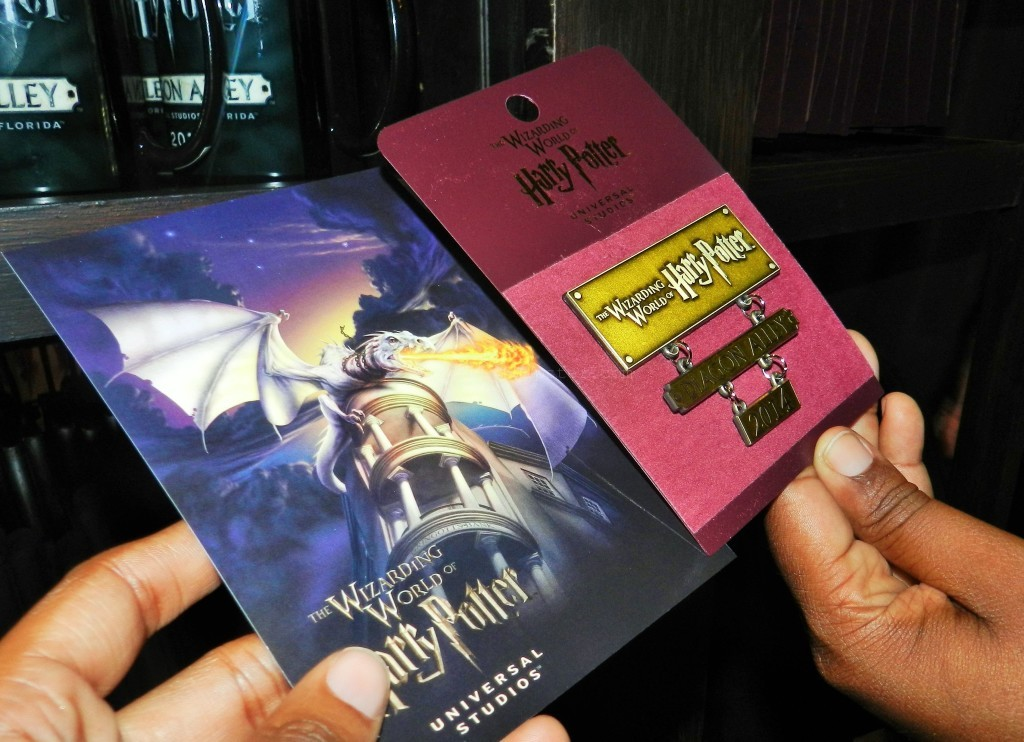 Diagon Alley Grand Opening Day Merchandise Post card and pin
