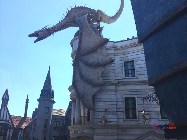 Diagon Alley Grand Opening Tips with Fire breathing Dragon