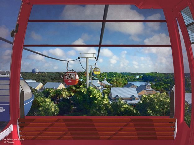 Epcot Red Skyliner High in the sky overlooking the park.