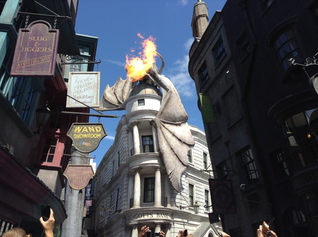 Diagon Alley Entrance with fire-breathing dragon on top of Gringott's Bank