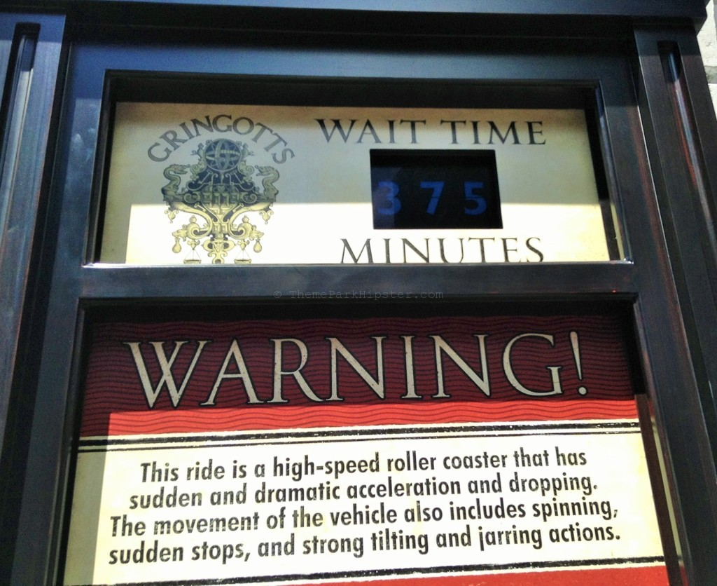 Diagon Alley Grand opening day Gringotts wait time.