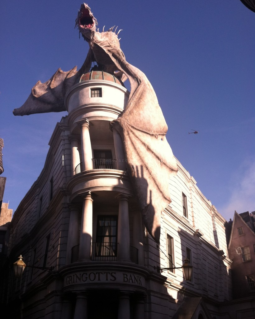 Diagon Alley: Gringotts Bank with Dragon on top.