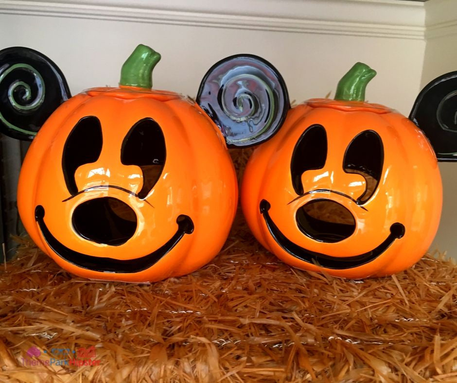 Disney Halloween Merchandise with Mickey Mouse Pumpkin Jack-O-Lantern Face Candle Holder