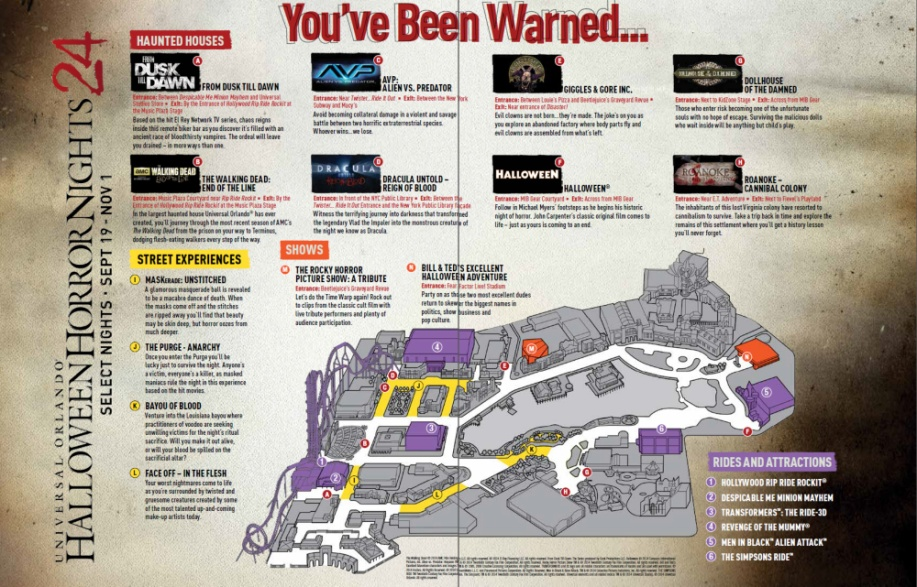 Halloween Horror Nights 2014 Map