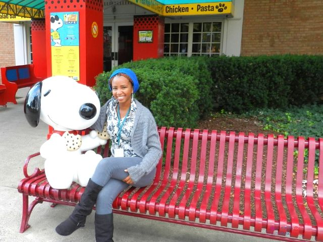 NikkyJ at Cedar Point in Sandusky Ohio with Snoopy