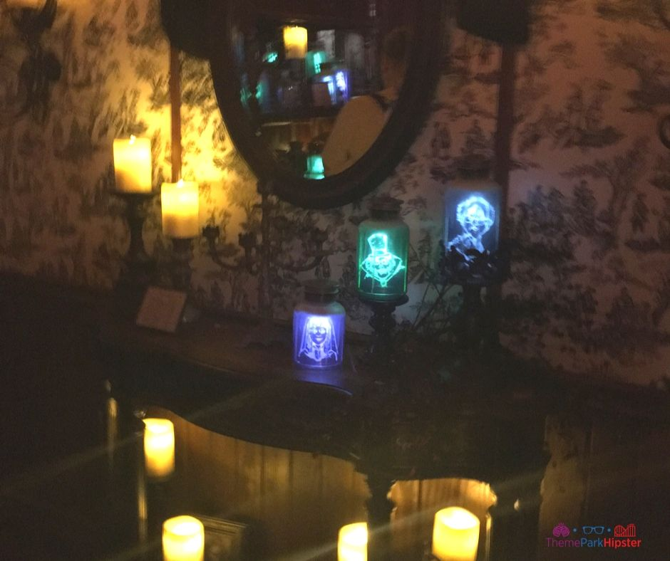 Spirit Photography Section Closed and Replaced with Spirited Jars of Characters from the Haunted Mansion at Madame Leota's Shop