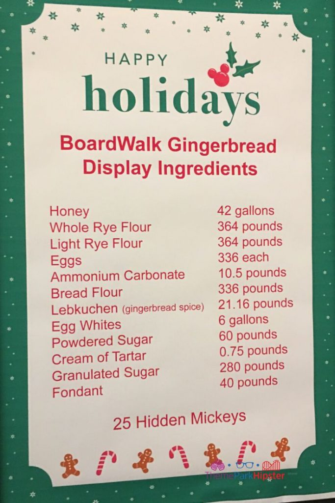 BoardWalk Gingerbread Display Ingredients at Walt Disney World Honey Flour Eggs Sugar Fondant.