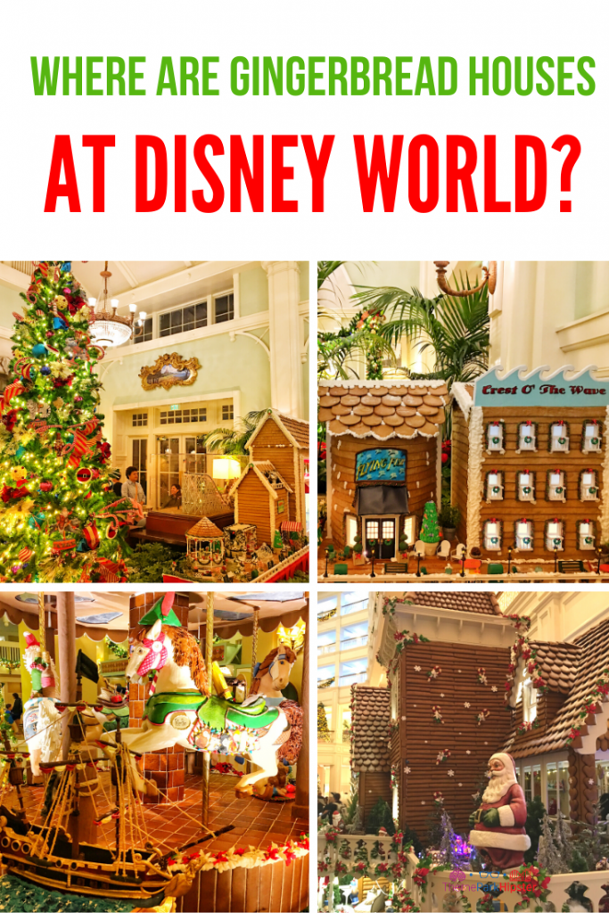 Where are gingerbread houses at Disney World with Giant Christmas Tree in Background